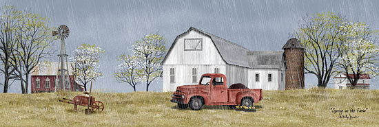 Billy Jacobs BJ1196A - Spring on the Farm - 36x12 Farm, Barn, Red Truck, Flowering Trees, Spring, Rain from Penny Lane