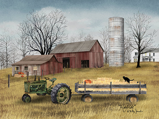 Billy Jacobs BJ1235A - BJ1235A - Hayride - 24x18 Farm, Tractor, Hay Bales, Barn, Silo, Harvest, Autumn, Wagon  from Penny Lane