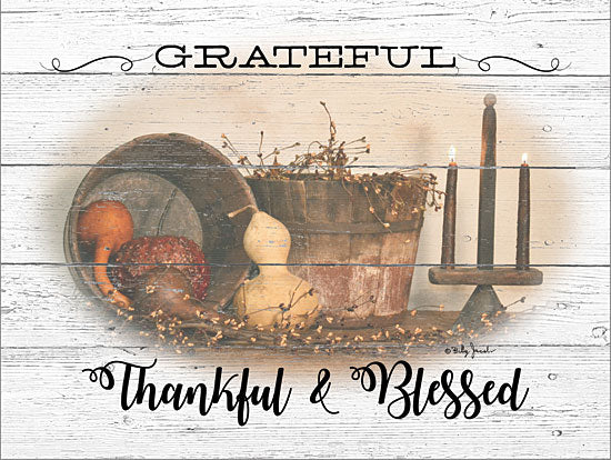 Billy Jacobs BJ1239 - BJ1239 - Grateful, Thankful & Blessed - 16x12 Signs, Still Life, Wood Planks, Gourds, Candles, Typography from Penny Lane
