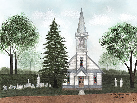 Billy Jacobs BJ1254 - BJ1254 - The Old Stanwood Church - 16x12 Church, Trees, Tombstones, Stanwood Church, Vintage from Penny Lane