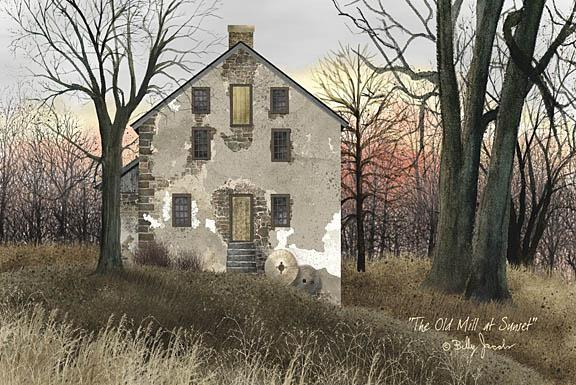 Billy Jacobs BJ162 - Old Mill at Sunset - Mill, Antiques from Penny Lane Publishing