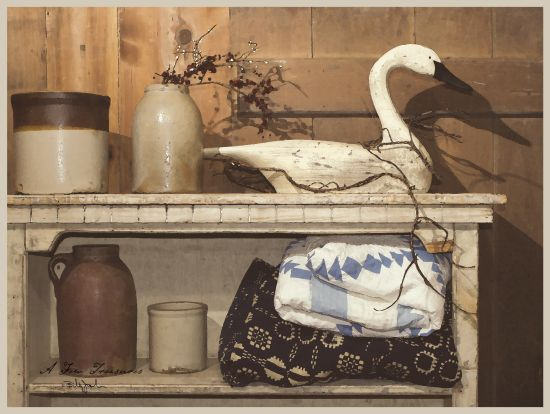 Billy Jacobs BJ180 - A Few Treasurers Wood Swan, Crocks, Shelf, Blankets, Quilts, Berries from Penny Lane