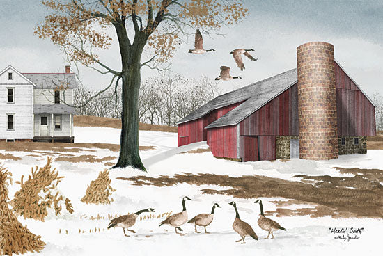 Billy Jacobs BJ214 - Headin South - Geese, Winter, Snow, Farm, Barn from Penny Lane Publishing