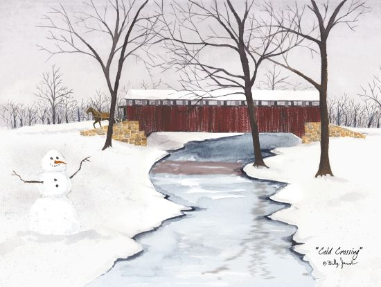 Billy Jacobs BJ454 - Cold Crossing Covered Bridge, Snowman, Winter, Snow, Creek, Ice, Americana from Penny Lane