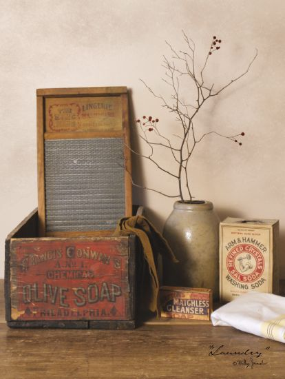 Billy Jacobs BJ819 - Laundry Antiques, Laundry, Crock, Still Life, Washboard, Soap, Cleaning from Penny Lane