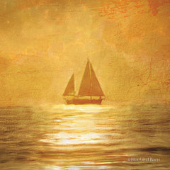 BLUE223 - Solo Gold Sunset Sailboat - 12x12