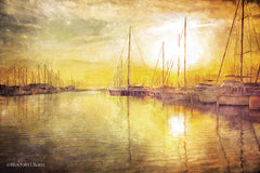 BLUE224 - Yellow Sunset Boats in Marina - 18x12
