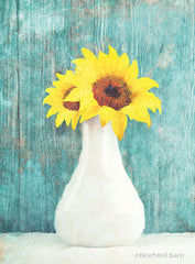 BLUE283 - Sunflower White Vase - 12x16