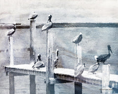 BLUE376 - Birds on a Pier - 16x12