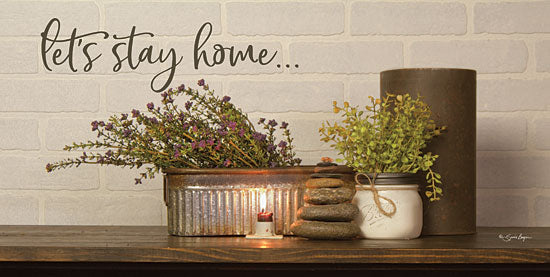Susie Boyer BOY481 - BOY481 - Let's Stay Home - 18x9 Let's Stay Home, Still Life, Herbs, Candle, Galvanized Pot from Penny Lane