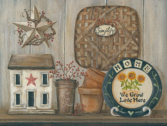 Pam Britton BR454 - Home Country Shelf Basket, Barn Star, Saltbox House, Clay Pots, Still Life from Penny Lane