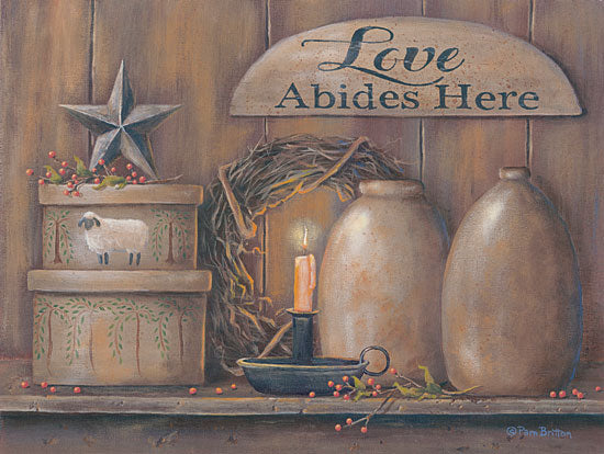 Pam Britton BR456 - Love Abides Here Shelf Love, Shelf, Crock, Antiques, Barn Star, Candle, Still Life from Penny Lane
