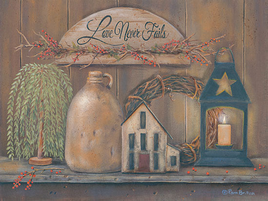 Pam Britton BR457 - Love Never Fails Shelf Love Never Fails, Shelf, Antiques, Lantern, Candle, Crock from Penny Lane