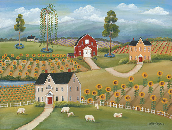 Pam Britton BR458 - Valley Flower Farms Farm, Barn, Sheep, Sunflowers, Fields, Americana from Penny Lane
