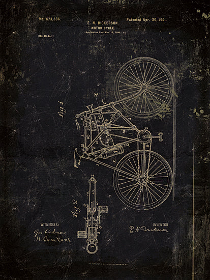 Cloverfield & Co CC138 - Motor Bike Patent II - Motor Bike, Motorcycles, Blueprints, Patents from Penny Lane Publishing