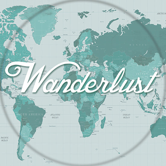 Cloverfield & Co CC140 - Wanderlust - Wanderlust, Map, World, Green, Travel from Penny Lane Publishing