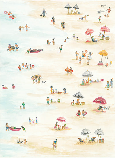 Cindy Jacobs CIN1037 - Beach Scene Triptych I - Beach, Families, Sand, Shore, Umbrellas, Coast from Penny Lane Publishing