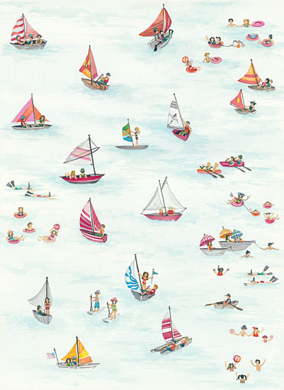 Cindy Jacobs CIN1039 - Beach Scene Triptych III - Sailboats, Beach, Families, Swimming, Ocean, Shore, Coast from Penny Lane Publishing