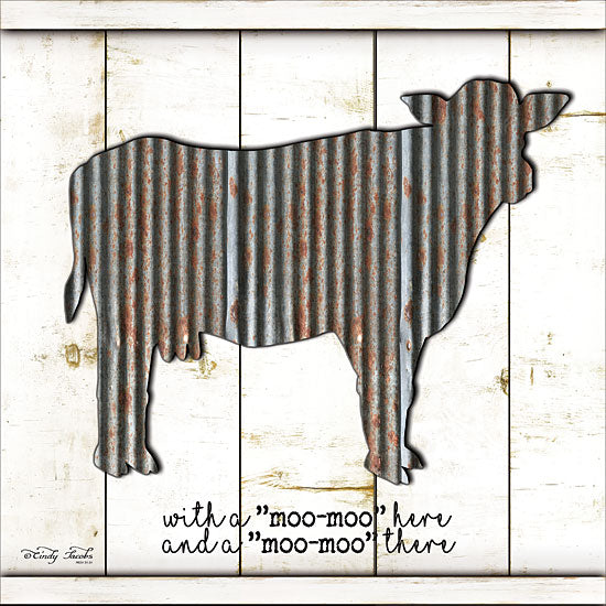 Cindy Jacobs CIN1050 - Metal Cow - Galvanized Metal, Cow, Old McDonald, Shiplap, Wood Planks from Penny Lane Publishing