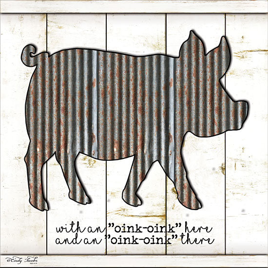 Cindy Jacobs CIN1052 - Metal Pig - Galvanized Metal, Pig, Old McDonald, Shiplap, Wood Planks from Penny Lane Publishing