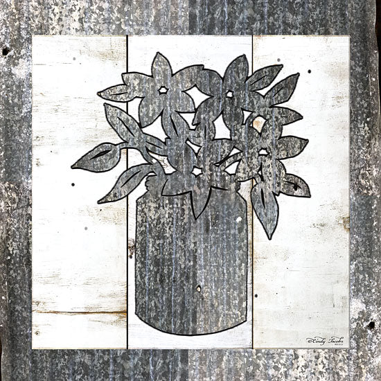 Cindy Jacobs CIN1076 - Galvanized Floral Galvanized, Flowers, Modern from Penny Lane
