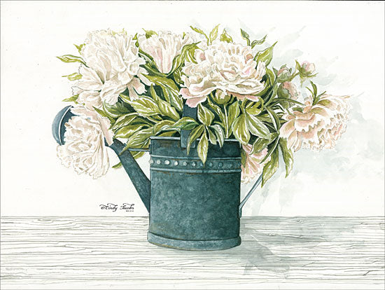Cindy Jacobs CIN1104 - Galvanized Watering Can Peonies Galvanized Metal, Watering Can, Peonies, Flowers, Shabby Chic from Penny Lane