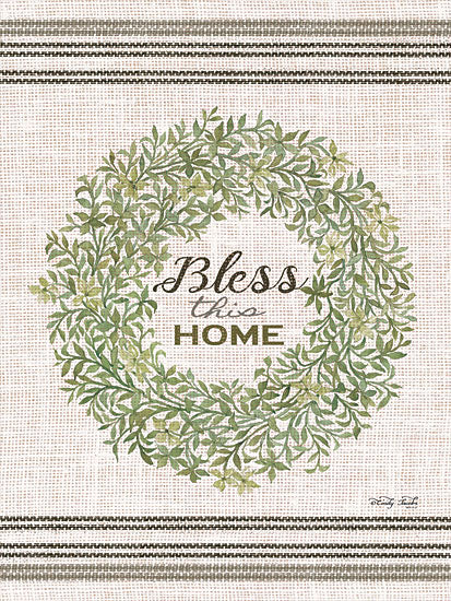 Cindy Jacobs CIN1116 - Bless This Home Wreath Bless This Home, Wreath, Greenery, Feed Sack from Penny Lane