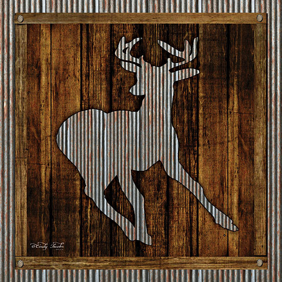 Cindy Jacobs CIN1126 - Deer Running II Deer, Silhouette, Galvanized Metal, Wood Planks from Penny Lane