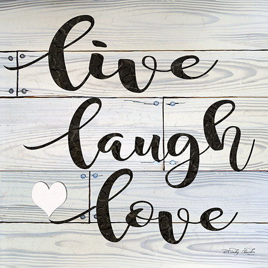Cindy Jacobs CIN1158 - Live, Laugh, Love Live, Laugh, Love, Gray, Black Calligraphy from Penny Lane