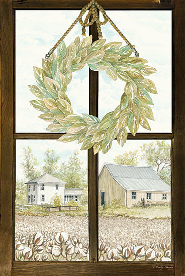Cindy Jacobs CIN1166 - Window View III Window, View, Cotton, Fields, Farm, Barn, Wreath, Rope, Greenery from Penny Lane