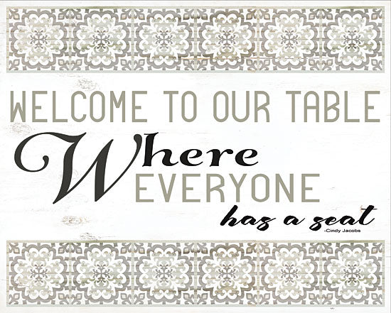 Cindy Jacobs CIN1182 - Welcome to Our Table Black and White, Tiles, Welcome, Kitchen from Penny Lane