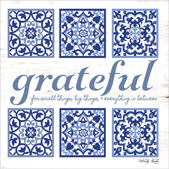 Cindy Jacobs CIN1185 - Grateful Tile Grateful, Blue & White, Tiles, Inspirational from Penny Lane