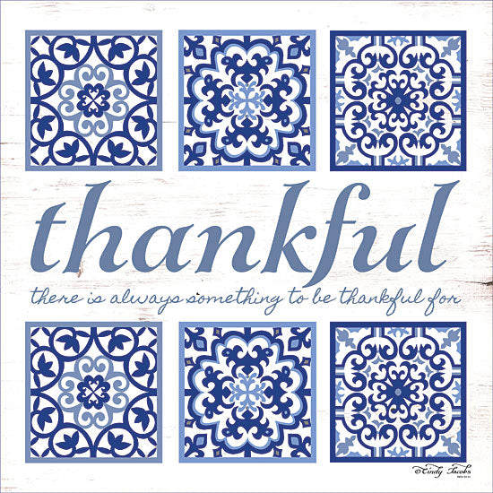 Cindy Jacobs CIN1186 - Thankful Tile Thankful, Blue & White, Tiles, Inspirational from Penny Lane