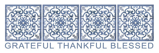 Cindy Jacobs CIN1189 - Grateful, Thankful, Blessed Grateful, Thankful, Blessed, Blue & White, Tiles from Penny Lane