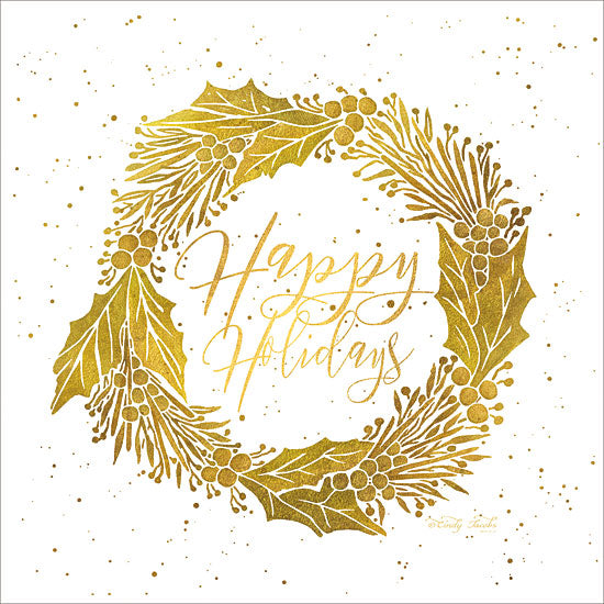 Cindy Jacobs CIN1213 - Happy Holidays    Happy Holidays, Wreath, Gold, Holidays, Holly Berries, Leaves from Penny Lane