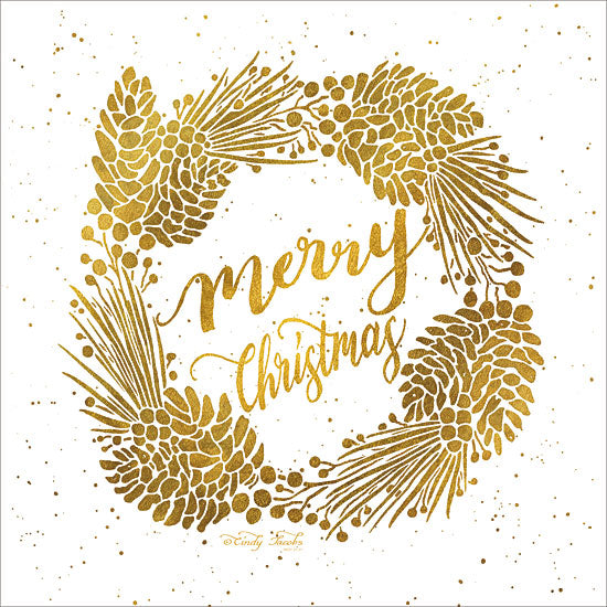 Cindy Jacobs CIN1214 - Merry Christmas    Merry Christmas, Wreath, Gold, Holidays, Pinecones, Holly Berries from Penny Lane