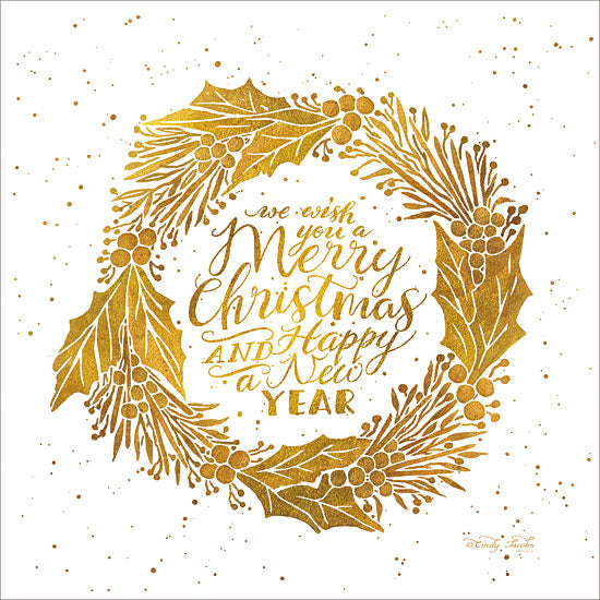 Cindy Jacobs CIN1216 - Merry Christmas and Happy New Year    Merry Christmas, Happy New Year, Wreath, Gold, Holidays, Holly Berries, Leaves from Penny Lane