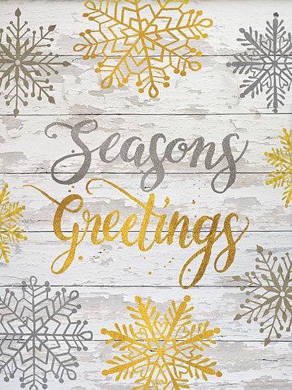Cindy Jacobs CIN1250 - CIN1250 - Seasons Greetings Snowflakes - 12x16 Signs, Seasons Greetings, Snowflakes, Wood Planks, Calligraphy, Christmas from Penny Lane