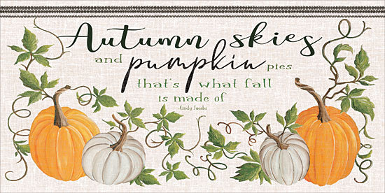 Cindy Jacobs CIN1285 - CIN1285 - Autumn Skies and Pumpkin Pies - 24x12 Signs, Pumpkins, Pie, Autumn Skies, Fall, White Pumpkins, Quotes, Typography from Penny Lane