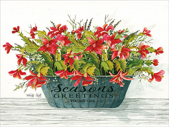 Cindy Jacobs CIN1299 - Seasons Greetings Pot Holidays, Red Flowers, Flowers, Galvanized Bucket, Seasons Greetings from Penny Lane