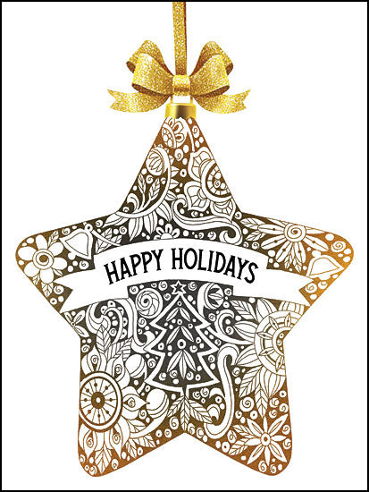 Cindy Jacobs CIN1305 - Happy Holidays Ornament Silver and Gold, Ornaments, Happy Holidays from Penny Lane