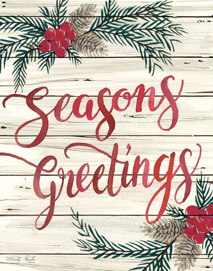 Cindy Jacobs CIN1308 - Seasons Greetings Seasons Greetings, Shiplap, Holidays, Berries, Pine Sprigs from Penny Lane