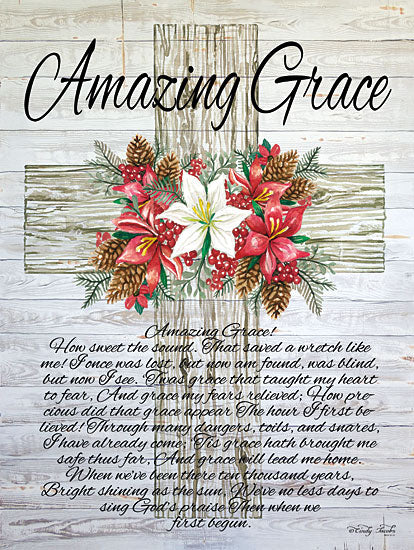 Cindy Jacobs CIN1309 - CIN1309 - Amazing Grace Christmas Cross   - 12x16 Signs, Amazing Grace, Songs, Religious, Cross, Poinsettias, Pinecones, Wood Planks, Typography from Penny Lane