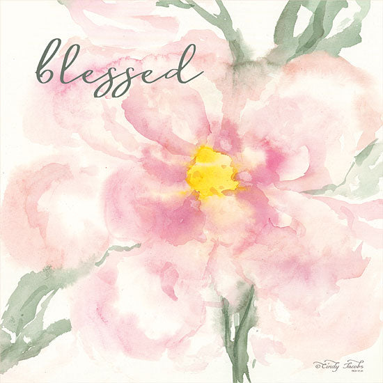 Cindy Jacobs CIN1371 - Floral Blessed Flowers, Blooms, Botanical, Watercolor, Blessed from Penny Lane