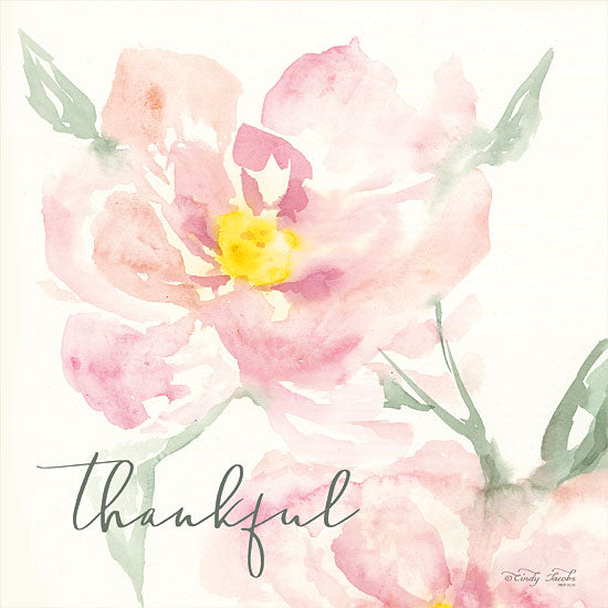 Cindy Jacobs CIN1372 - Floral Thankful Flowers, Blooms, Botanical, Watercolor, Thankful from Penny Lane