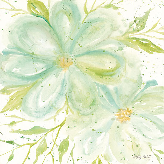 Cindy Jacobs CIN1375 - Teal Big Blooms Flowers, Blooms, Botanical, Watercolor, Teal from Penny Lane