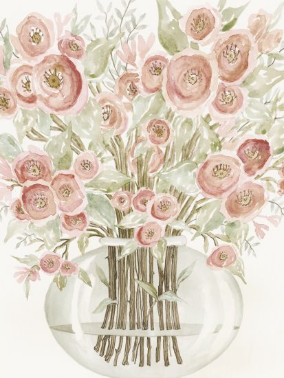 Cindy Jacobs CIN1392 - Blush Roses Flowers, Roses, Blush, Glass Vase, Vase from Penny Lane