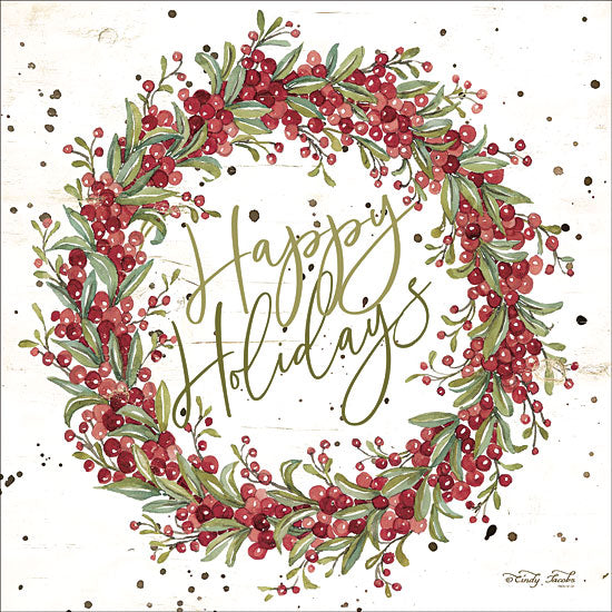 Cindy Jacobs CIN1414 - Happy Holidays Berry Wreath Happy Holidays, Wreath, Berries, Signs from Penny Lane