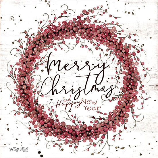 Cindy Jacobs CIN1415 - Merry Christmas Berry Wreath Holidays, Wreath, Berries, Signs, Happy New Year from Penny Lane