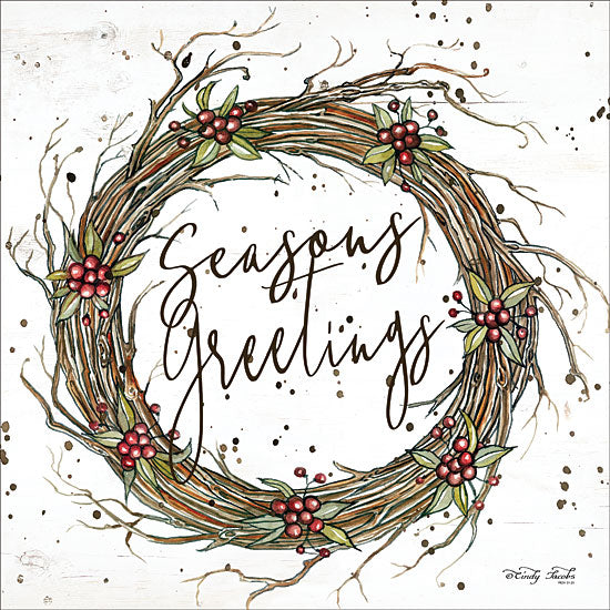 Cindy Jacobs CIN1416 - Seasons Greetings Wreath Seasons Greetings, Wreath, Berries, Grapevine Wreath, Holidays from Penny Lane